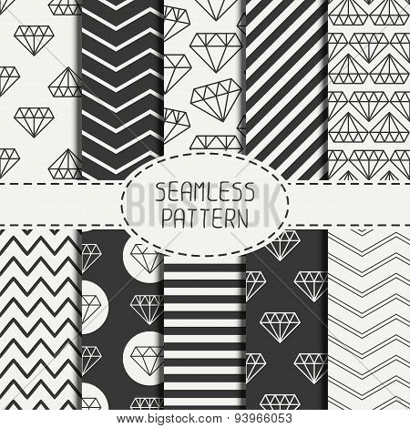 Set of hipster fashion geometric seamless pattern with diamond. Chevron zigzag stripes. Wrapping pap