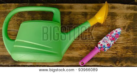 Garden Watering Can And Shovel