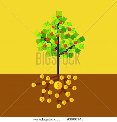 Money tree. Flat vector illustration.