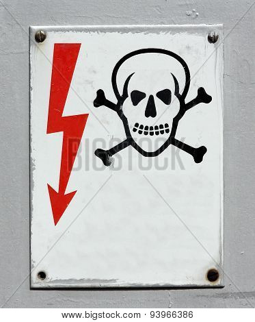 High voltage warning death skull sign