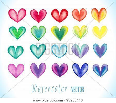 Watercolor vector hearts