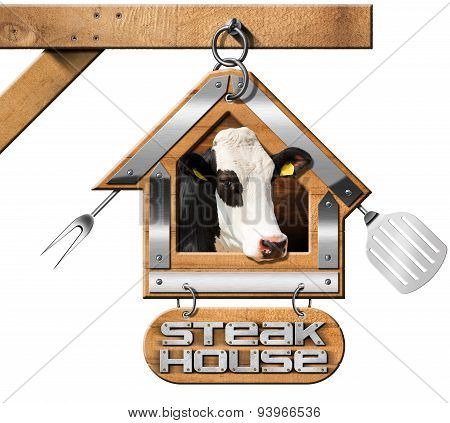 Steak House - Sign With Chain