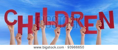 Many People Hands Hold Red Word Children Blue Sky