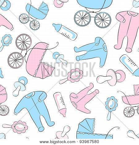 Seamless Pattern With Items For Newborn