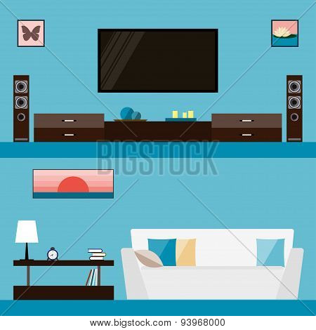illustration in trendy flat style with room interior isolated on bright stylish blue cover