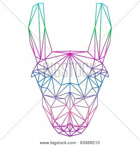 Polygonal Abstract Gradient Colored Llama Silhouette Drawn In One Continuous Line