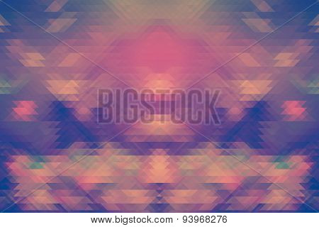 Background Of Retro Geometric Triangle Shapes. Colorful Mosaic Pattern