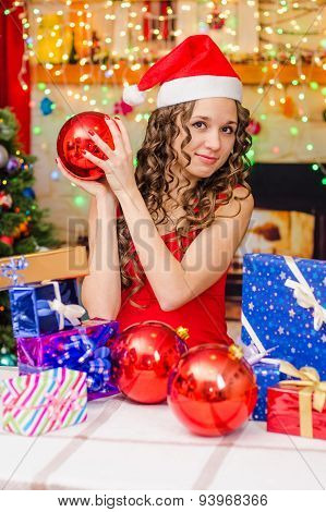 Girl With Red Christmas Balls