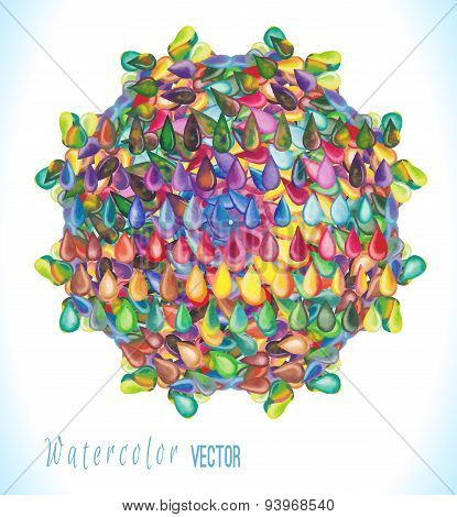 Vector watercolor circle with colorful rainbow drops.