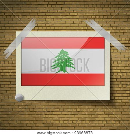 Flags Lebanon At Frame On A Brick Background. Vector