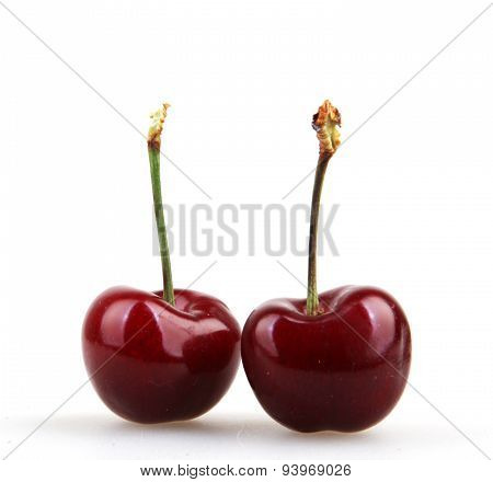 Sweet cherry isolated on white background - Color image.