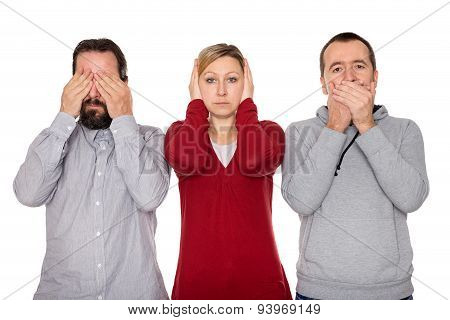 Two Men And A Woman Shows Three Wise Monkeys