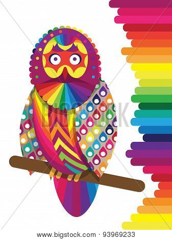 Colorful rainbow vector owl