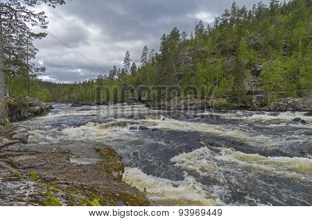Rapids On Kutsayoki River, Murmansk Region, Russia.