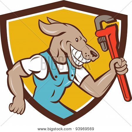 Dog Plumber Running Monkey Wrench Shield Cartoon
