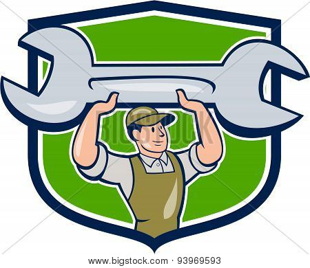 Mechanic Lifting Spanner Wrench Shield Cartoon