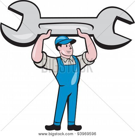 Mechanic Lifting Spanner Wrench Cartoon