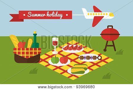 BBQ party. Barbecue summer picnic. Invitation template.