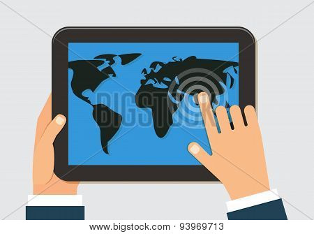 Man holding tablet with world map. Vector flat design.