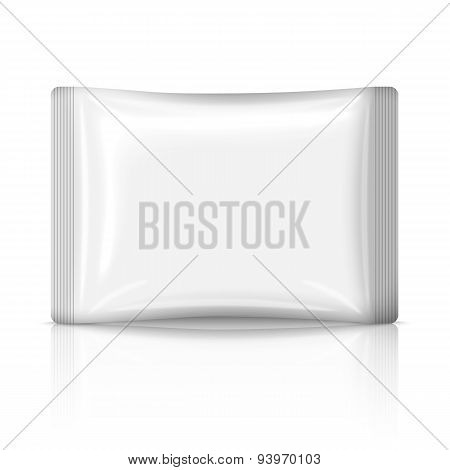 Blank flat plastic sachet isolated on white background with reflection. Vector