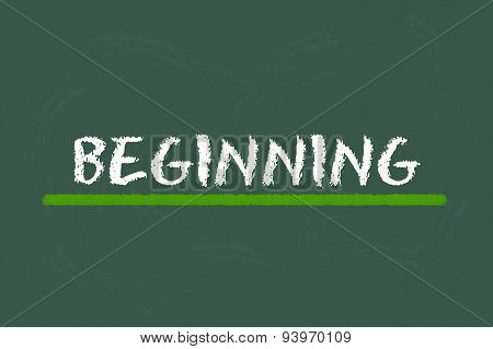 Beginning White Script On A Green Blackboard