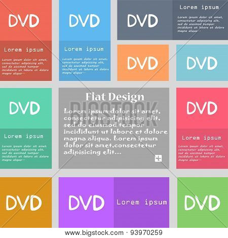 Dvd Icon Sign. Set Of Multicolored Buttons With Space For Text. Vector