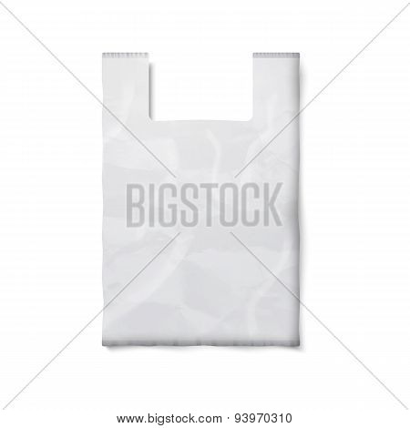 Blank plastic bag with place for your design and branding isolated on white background.