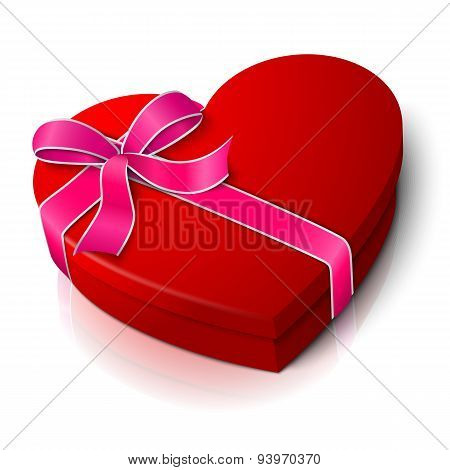 Vector realistic blank bright red heart shape box with pink and white ribbon bow-knot.