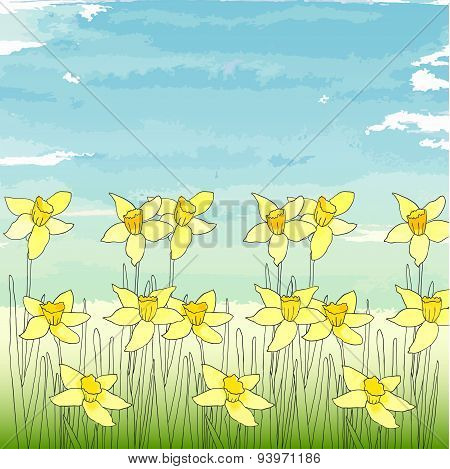 Template with spring flowers (daffodils) on a blue sky background.