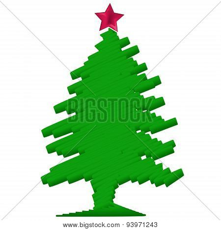 Stylized Christmas tree with red star. Vector illustration