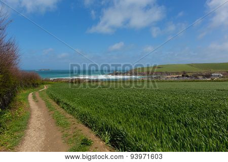 South West Coast Path Newtrain Bay North Cornwall near Padstow and Newquay blue sky