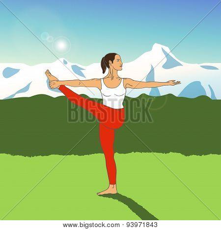 Vector yoga illustration. Woman doing yoga on the green grass.