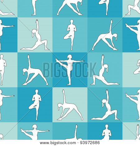 Yoga poses as seamless background.