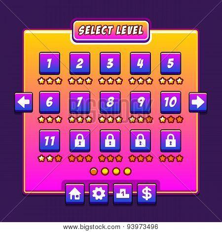 Space game menu level interface panels ui