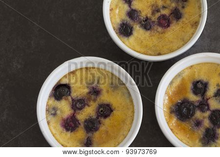 Baked Custard with Blueberries from Above
