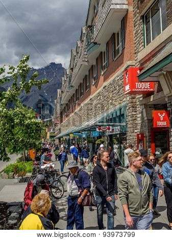 Banff Avenue shops and tourists