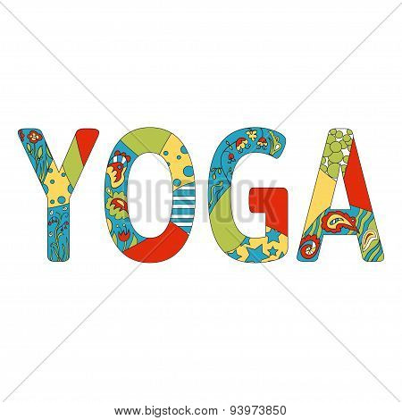Name of yoga studio in positive colors.