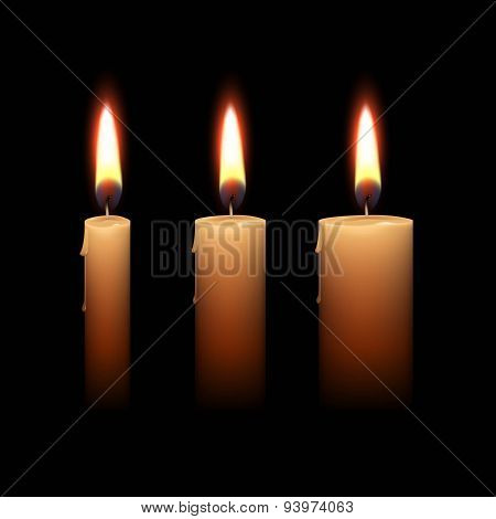 Candles Flame Fire Light Isolated Background
