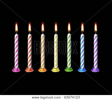 Birthday Candles Flame Fire Light Isolated