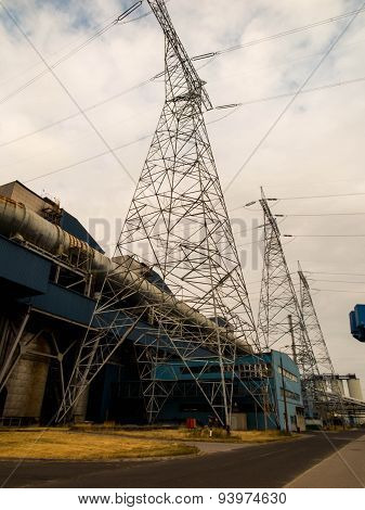 Electrical Power Plant With High Voltage Transmission Lines