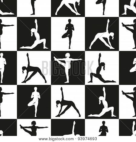Seamless pattern with women in yoga poses.