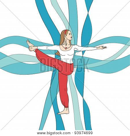 Girl in yoga pose on the abstract waves background.