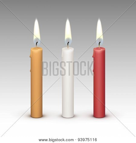 Candles Flame Fire Light Isolated on Background