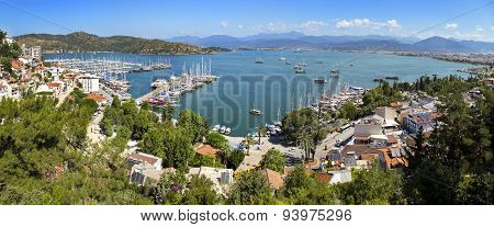 Panoramic Aerial View Of Fethiye Marine In Mugla Province
