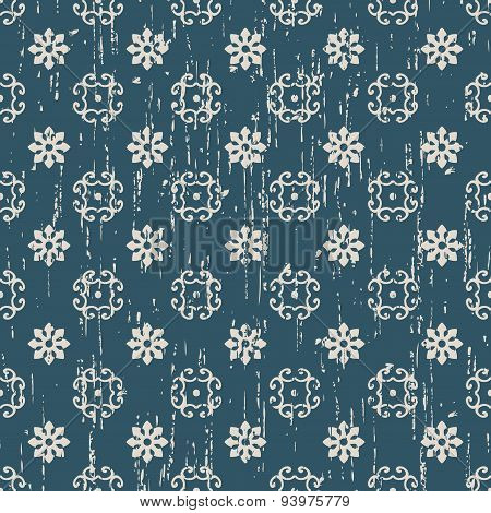 Seamless worn out flower tracery pattern background.