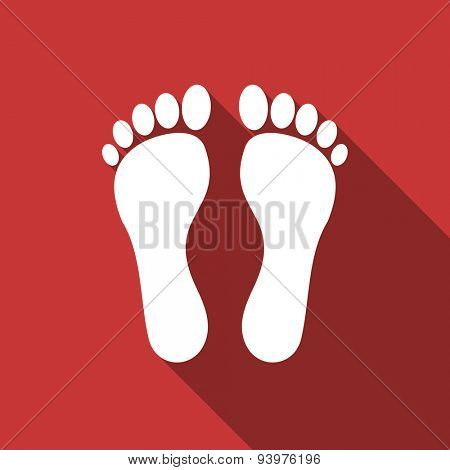 foot flat design modern icon with long shadow for web and mobile app