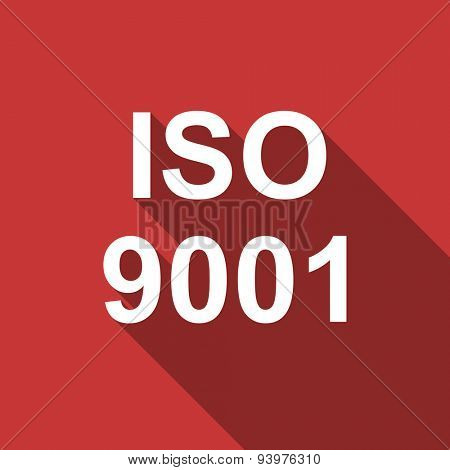 iso 9001 flat design modern icon with long shadow for web and mobile app
