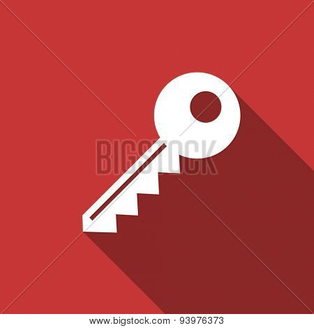 key flat design modern icon with long shadow for web and mobile app