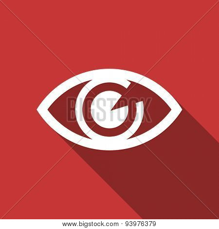 eye flat design modern icon with long shadow for web and mobile app