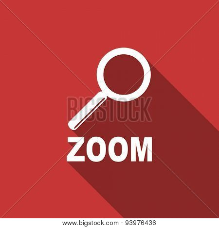 zoom flat design modern icon with long shadow for web and mobile app